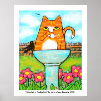 Tabby Cat In The Birdbath Poster