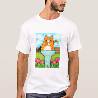 Tabby Cat In The Birdbath T-Shirt