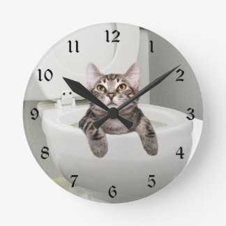 Tabby cat in toilet round clock