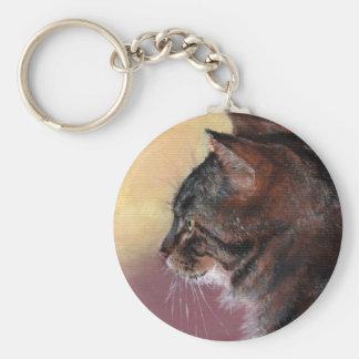 Tabby Cat Keychain Basic Round Button Keychain