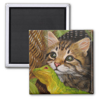 Tabby Cat Kitten & Lizard in Basket Magnet