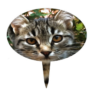 Tabby Cat Kitten Making Eye Contact Cake Topper