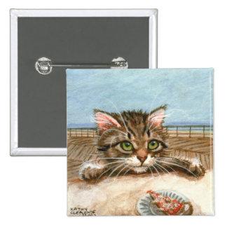 Tabby Cat Kitten Pizza Pinback Button