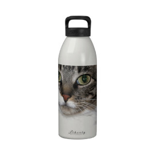 Tabby Cat Looking at You Reusable Water Bottles