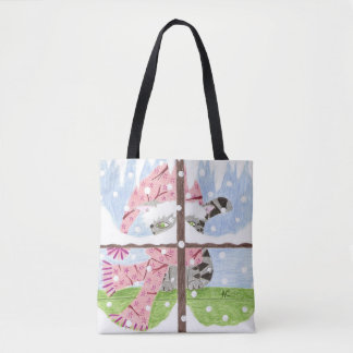 Tabby cat looking out the window Xmas tote bag