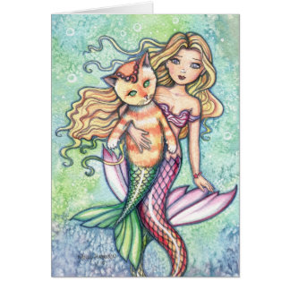 Tabby Cat Mermaid Fun Card by Molly Harrison