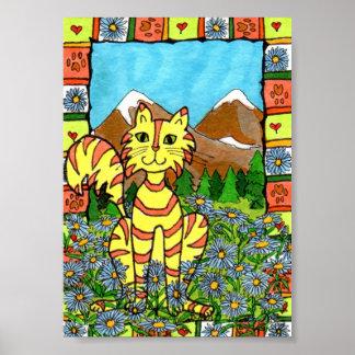 Tabby Cat & Mountain Asters Mini Folk Art Poster
