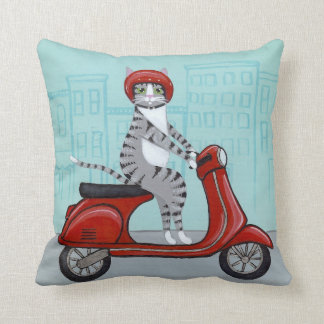 Tabby Cat on a Red Scooter Pillow