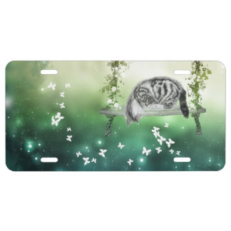 Tabby cat on a swing license plate