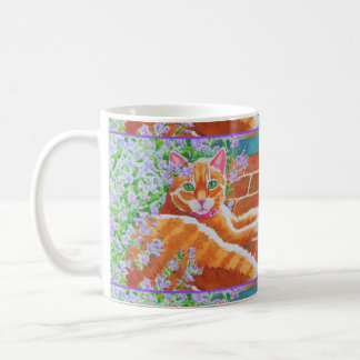 Tabby Cat on Garden Path Coffee Mug