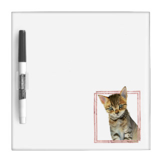 Tabby Cat Painting with Faux Rose Gold Foil Frame Dry Erase Board