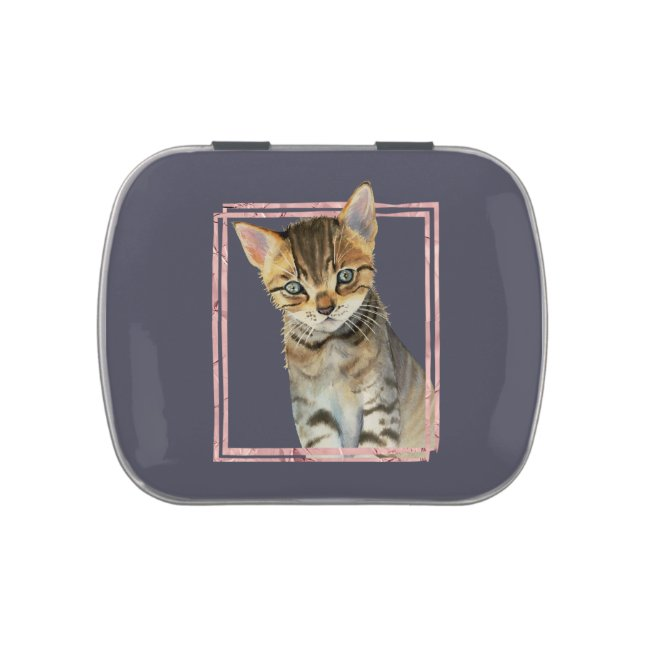 Tabby Cat Painting with Faux Rose Gold Foil Frame