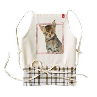Tabby Cat Painting with Faux Rose Gold Foil Frame Zazzle HEART Apron