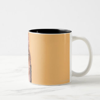Tabby cat peeking around wall Two-Tone coffee mug
