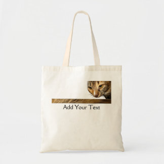 Tabby Cat Peeking from the Top Right Corner Tote Bag