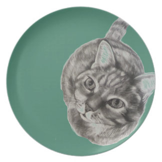 Tabby Cat Plate featuring original artwork
