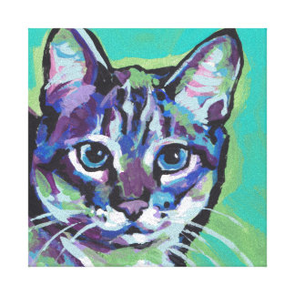 Tabby Cat Pop Art on Gallery Wrapped Canvas