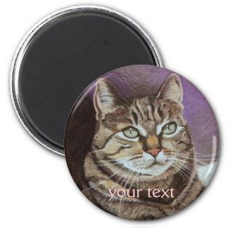 Tabby Cat Portrait Fine Art 2 Inch Round Magnet