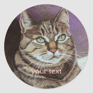 Tabby Cat Portrait Fine Art Classic Round Sticker