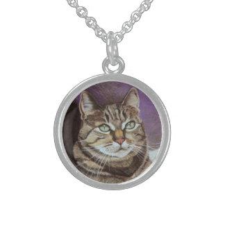 Tabby Cat Portrait Fine Art Sterling Silver Necklace