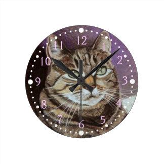 Tabby Cat Portrait Fine Art Round Clock
