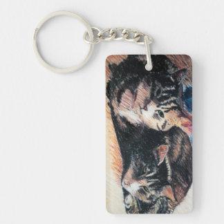 Tabby Cat Rectangle Keychain, Customizable Keychain