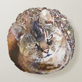 TABBY CAT ROUND PILLOW