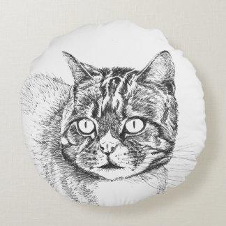 tabby cat round throw pillow