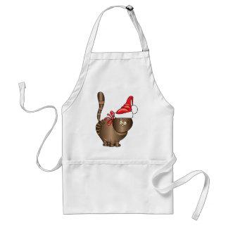 tabby cat santa adult apron