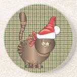 tabby cat santa beverage coaster