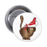 tabby cat santa button