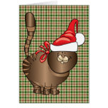 tabby cat santa greeting card