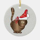 tabby cat santa ornament