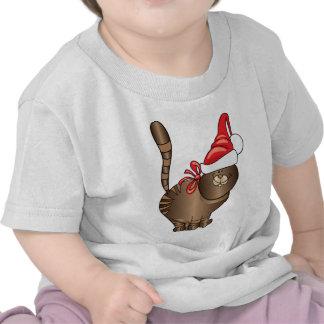 tabby cat santa t shirts
