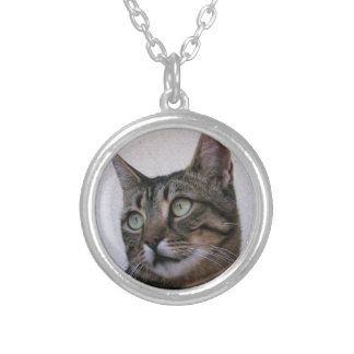 Tabby Cat Sitting In The Shade Behind Passiflora V Round Pendant Necklace