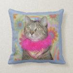 Tabby Cat Springtime Pillow