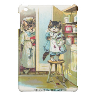 Tabby Cat Stealing Jam Cartoon Painting  iPad Mini Cases