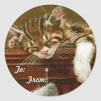 Tabby Cat To: From: Gift Tag Sticker