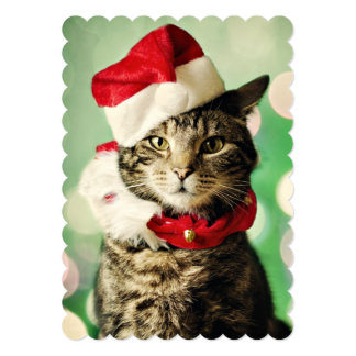 Tabby cat wearing a Christmas hat and collar 5x7 Paper Invitation Card