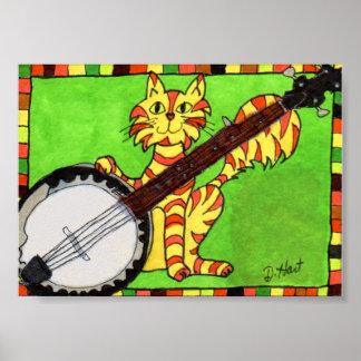 Tabby Cat with Banjo Mini Folk Art Poster