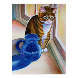 Tabby Cat with Blue Vase Postcard