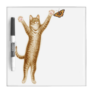 Tabby Cat with Butterfly Dry Erase Board