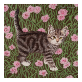 Tabby cat with carnations poster