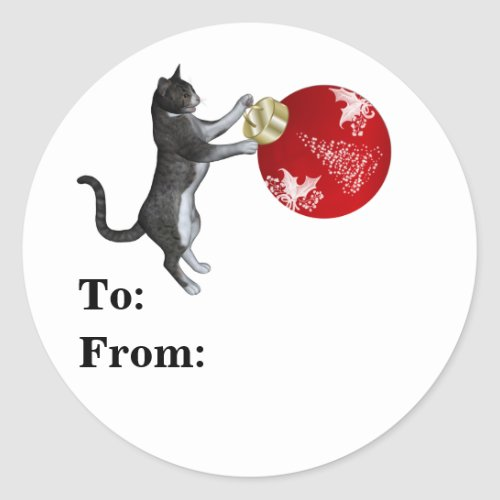 Tabby Cat With Christmas Ball Classic Round Sticker