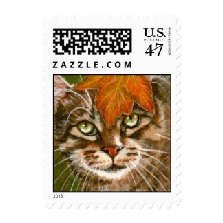 Tabby Cat with Fall Leaf Postage Stamp