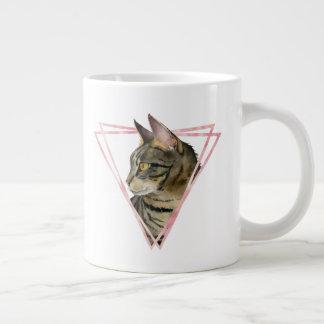 Tabby Cat with Faux Blush Metallic Frame Large Coffee Mug
