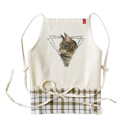 Tabby Cat with Faux Silver Glitter Frame Zazzle HEART Apron