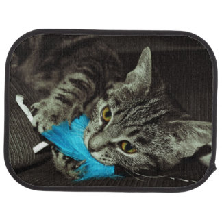 Tabby Cat with Feather by Shirley Taylor Car Floor Mat