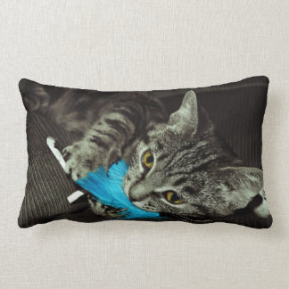 Tabby Cat with Feather by Shirley Taylor Lumbar Pillow