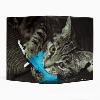 Tabby Cat with Feather by Shirley Taylor Mini Binder